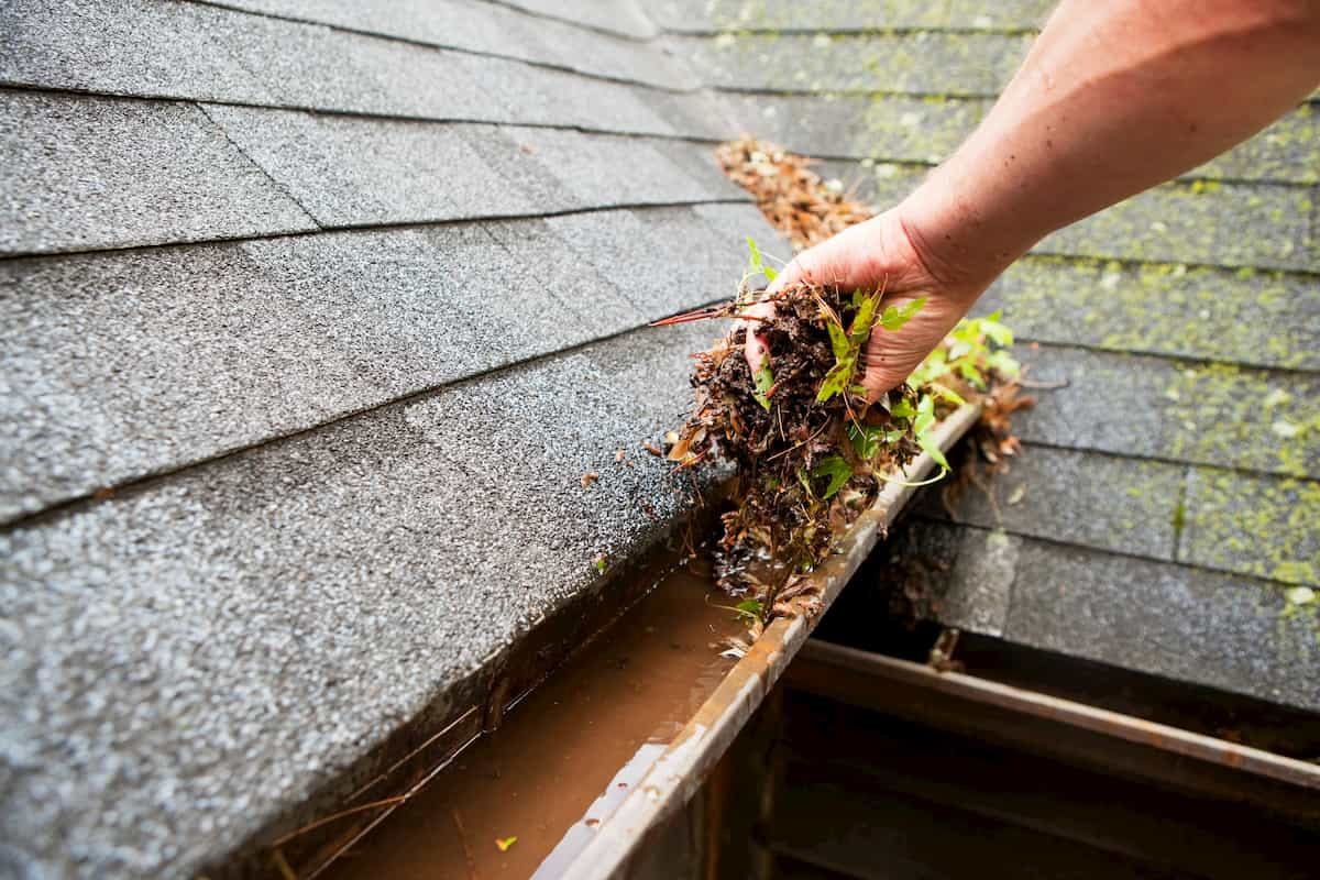 removing water and debris from gutters