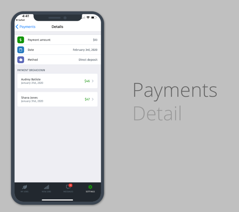 Lawn Love pro app payment screen
