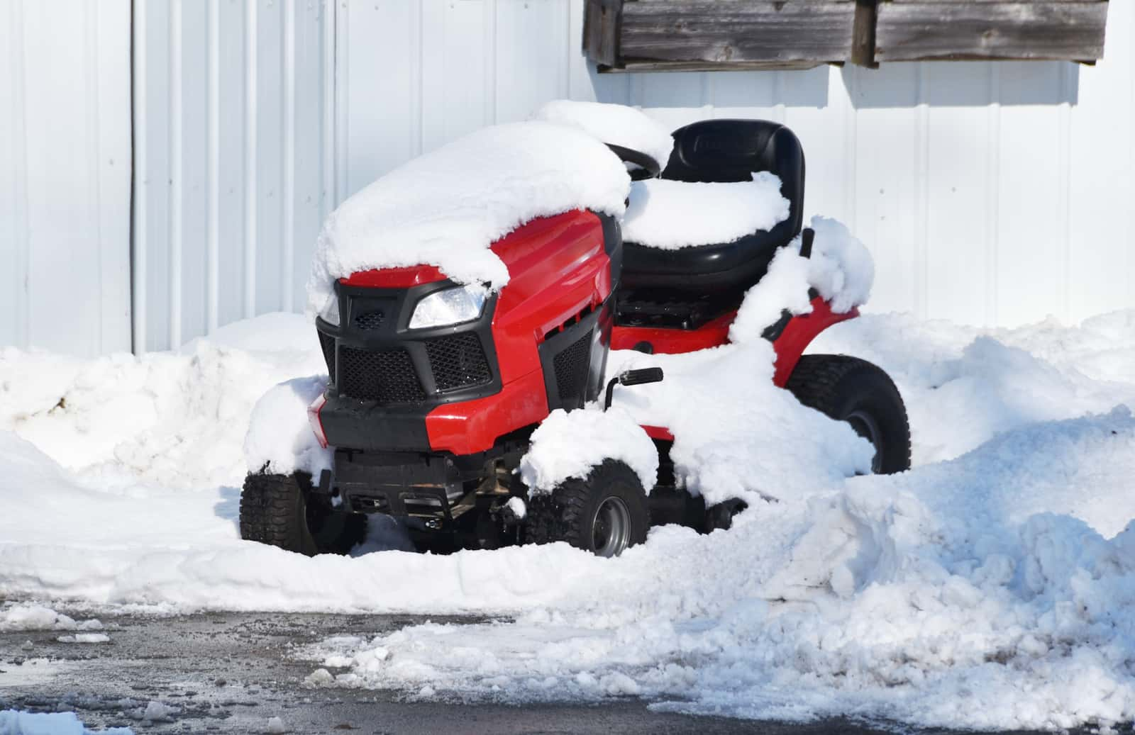 Snow-covered mower