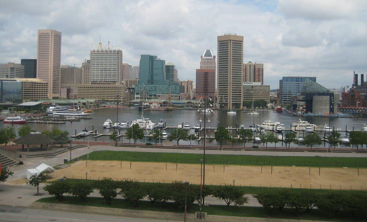 Baltimore, MD skyline and riverfront view