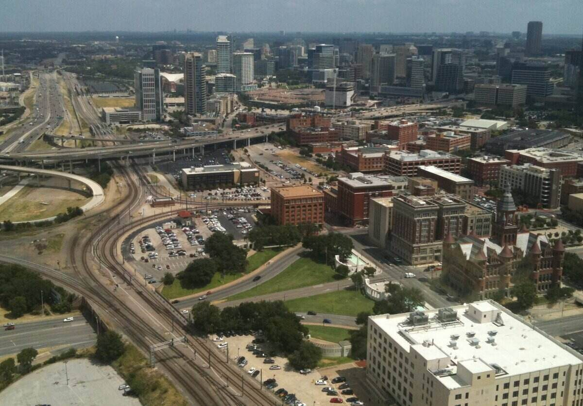 aerial view of downtown Dallas and the connecting highways