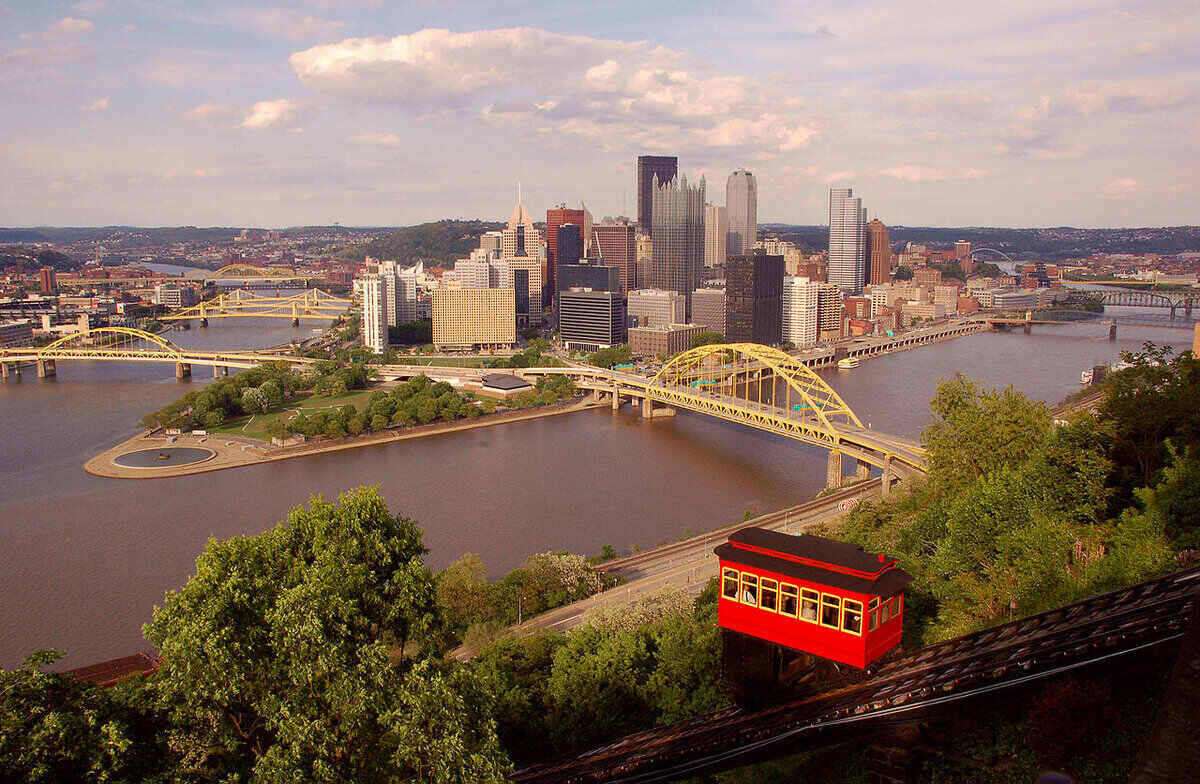 Skyline and waterfront with bridge, of Pittsburgh, PA