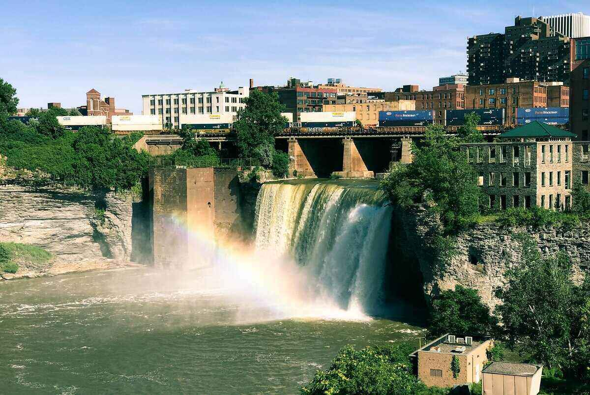 A shot of High Falls in Rochester, NY, with city building in the background