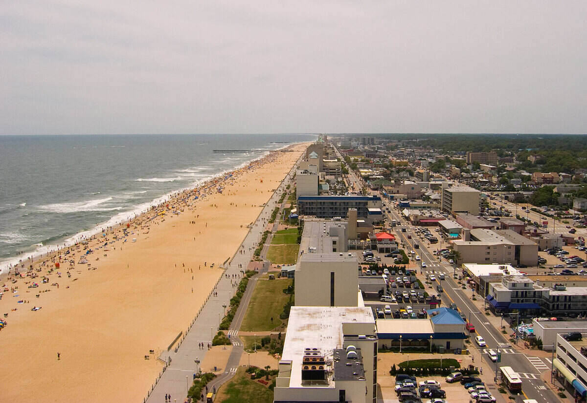 Aerial view of Virginia Beach coast and housing and downtown