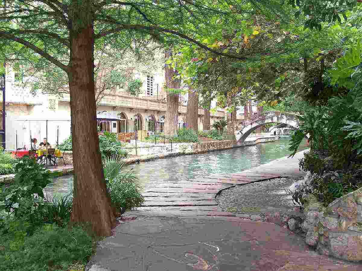 San Antonio River Walk, tree covered walkway beside the River Walk.