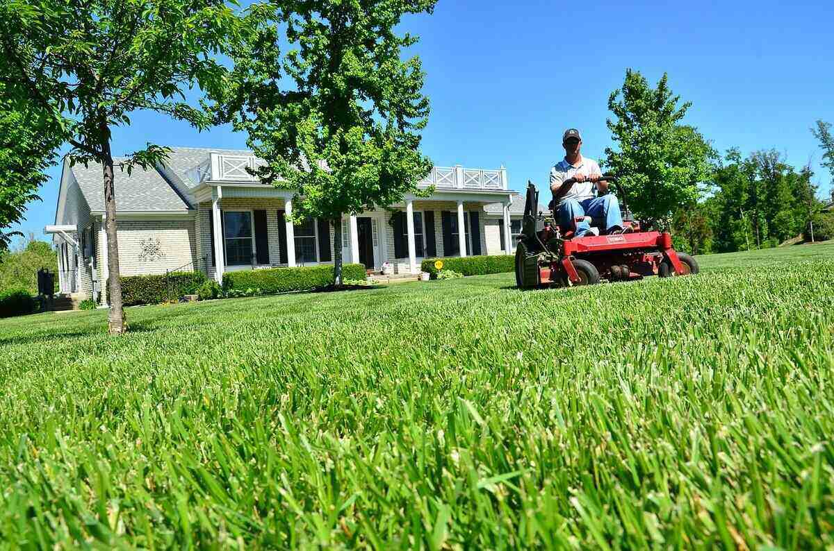 man mowing his lawn using a red riding mower